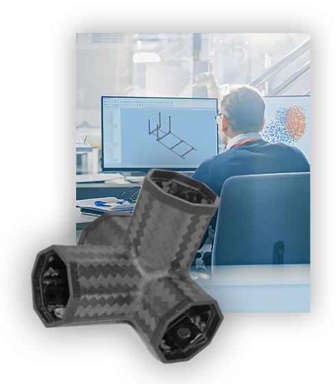 Drei Personen am Schreibtisch mit Konstruktionsplan und Winkelverbinder aus Carbon
