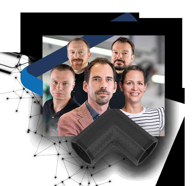 Carbon Winkelverbinder und acht Mitarbeiterinnen und Mitarbeiter der Nieke Composites