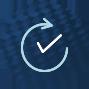 Grafik mit geschwungenem Pfeil um einen Kontroll-Häkchen